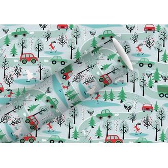 Rouleau de papier cadeau voitures noêl 0,7x2m