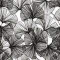20 serviettes 33x33cm fleurs graphiques noires Ginko