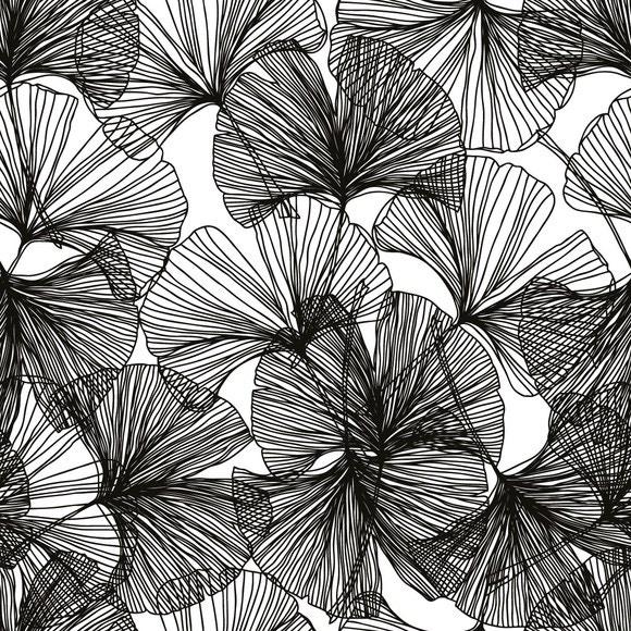 Achat en ligne 20 serviettes 33x33cm fleurs graphiques noires Ginko