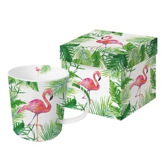 Coffret  mug tropical flamand rose