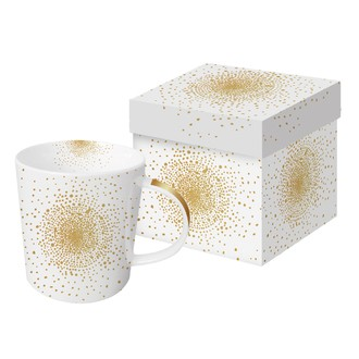 Coffret mug blanc pois or