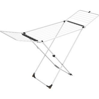 Etendoir à linge sur pieds en acier blanc 18M 180x55x107 cm