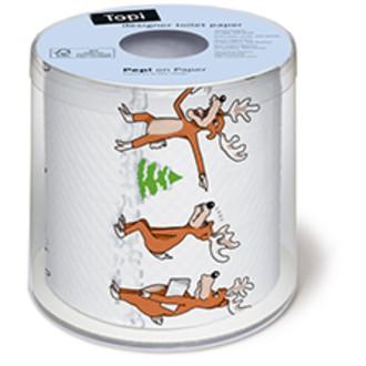 Papier toilette de noël imprimé rennes