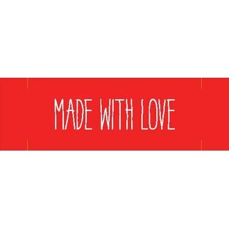RICO DESIGN - Etiquettes à coudre rouge message Made with love - 3 pièces - 1,5x7cm