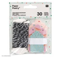 Achat en ligne Lot de 30 étiquettes pour cadeaux imprimés tropical