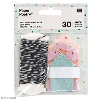 RICO DESIGN - Lot de 30 étiquettes pour cadeaux imprimés tropical