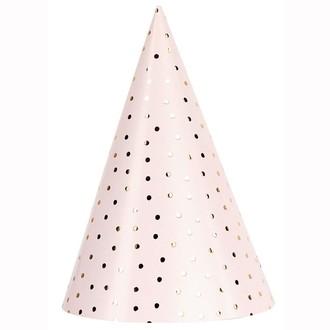 RICO DESIGN - Set de 8 chapeaux de fête rose et or