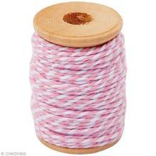 Achat en ligne Fil de coton twist rose blanc 15m