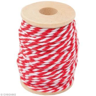 Fil de coton twist rouge blanc 15m