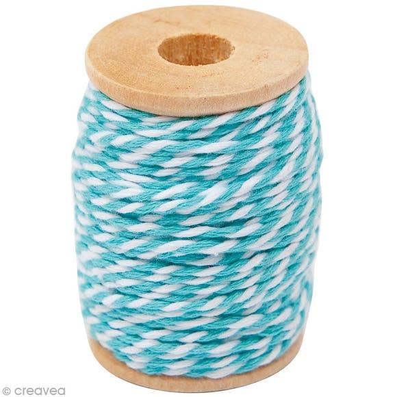 Achat en ligne Fil de coton twist turquoise blanc 15m