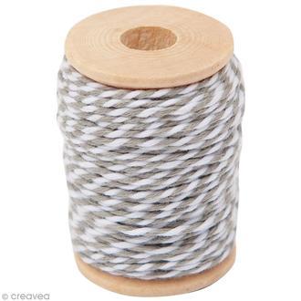 Fil de coton twist gris blanc 15m