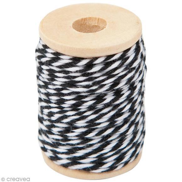 Fil de coton twist rnoir blanc 15m