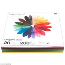 Achat en ligne Lot de 200 feuilles colorées uni pour origami 10x10cm