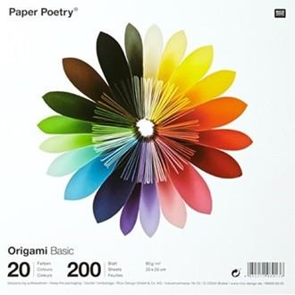 RICO DESIGN - Lot de 200 feuilles colorées uni pour origami 20x20cm