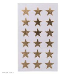 Achat en ligne 72 stickers autocollants étoiles dorées 18mm