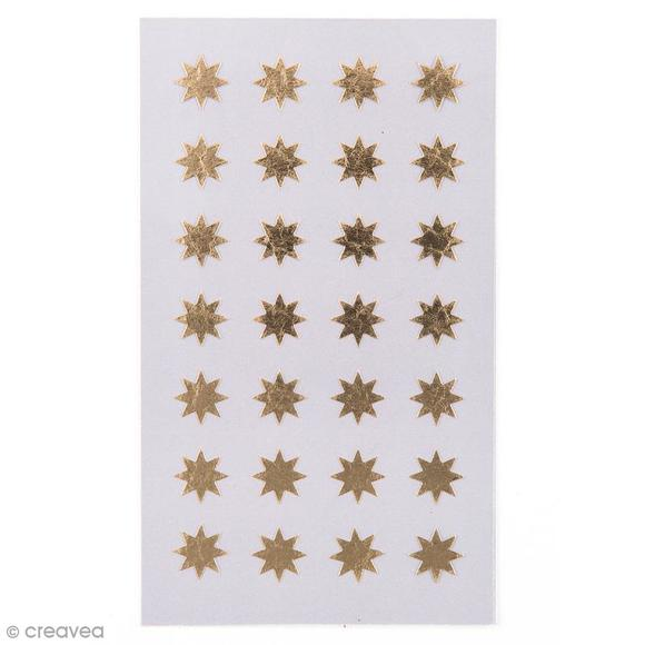 Achat en ligne 112 stickers autocollants étoiles dorées 12mm