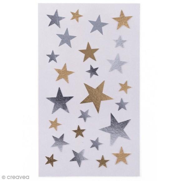 Achat en ligne 100 stickers autollant étoiles dorés et argentés