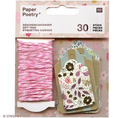 Achat en ligne Lot 30 étiquettes bouquets 4,50x7,50-3,50x5cm + ficelle rose