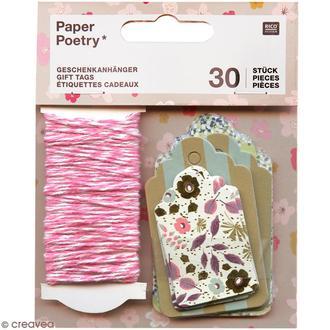 Lot 30 étiquettes bouquets 4,50x7,50-3,50x5cm + ficelle rose