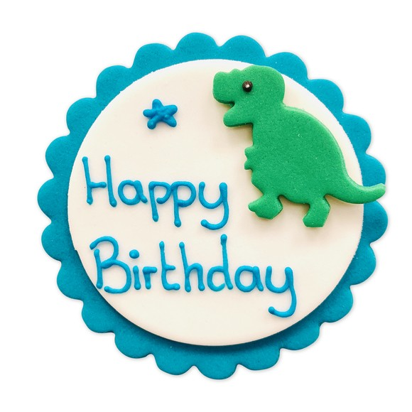 Décors en sucre Happy Birthday Dinosaure