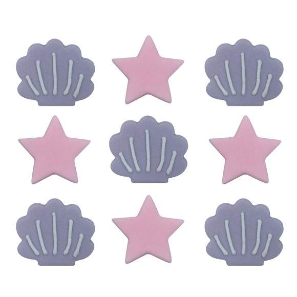 Décors en sucre 9 coquillages étoiles