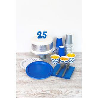 Bougie bleue chiffre 3 paillettes