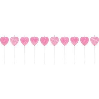 10 bougies pailletées en forme de cœur