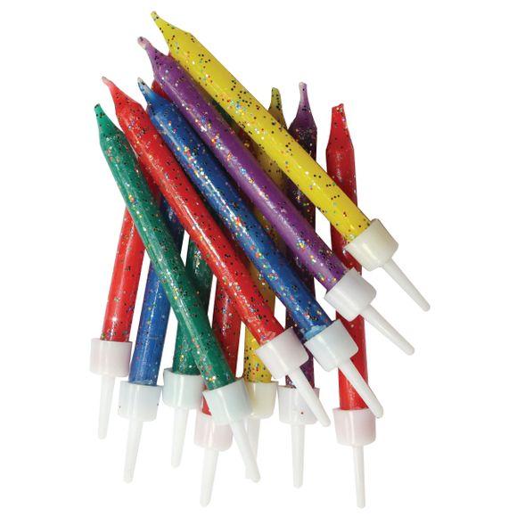 Achat en ligne Set de 12 bougies paillette multicolore