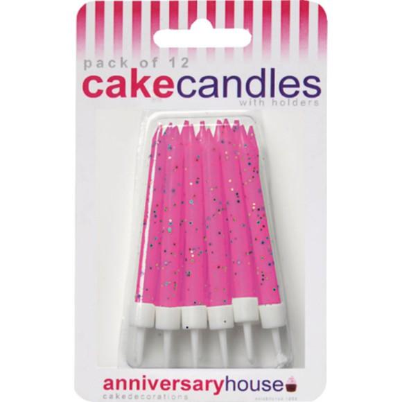 Achat en ligne Set de 12 bougies d'anniversaire paillette framboise