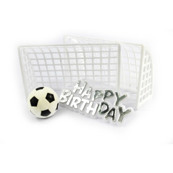 Décor gateau anniversaire ballon foot et but