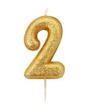 Achat en ligne Bougie d'anniversaire chiffre 2 or