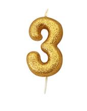 Achat en ligne Bougie d'anniversaire chiffre 3 or