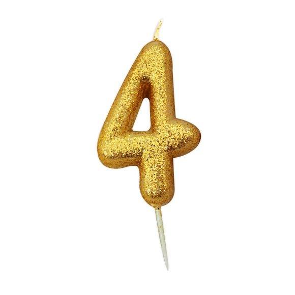 Candela compleanno numero 4 oro