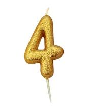 Achat en ligne Bougie d'anniversaire chiffre 4 or