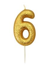 Achat en ligne Bougie d'anniversaire chiffre 6 or