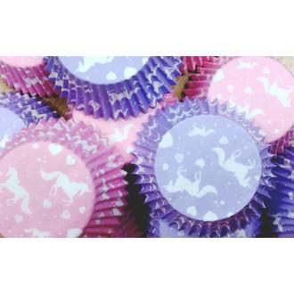 Caissettes à cupcakes licorne rose et mauve