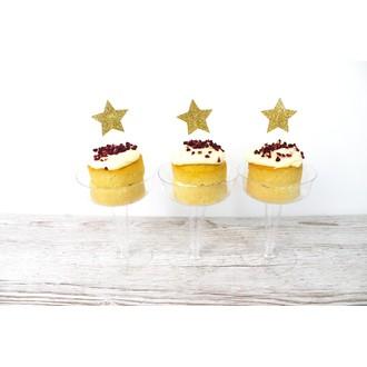 cake topper forme etoile doré et tige plastique blanche