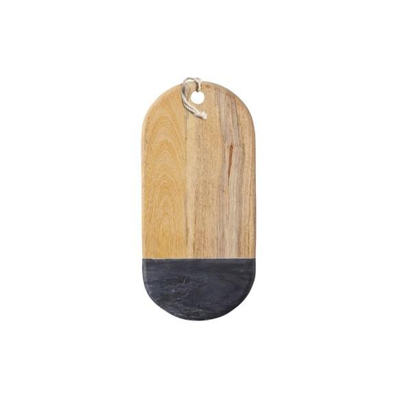 Tagliere in marmo e legno 33,5x16,5cm