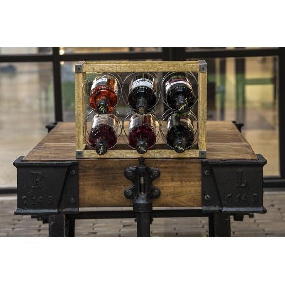 Cassa porta 6 bottiglie di vino in legno e metallo