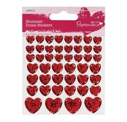 Achat en ligne Set de 46 dômes autocollants cœur en strass rouge