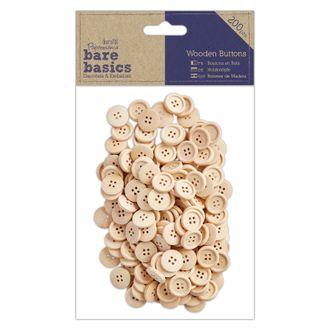 Docrafts - lot de 200 boutons en bois 2cm