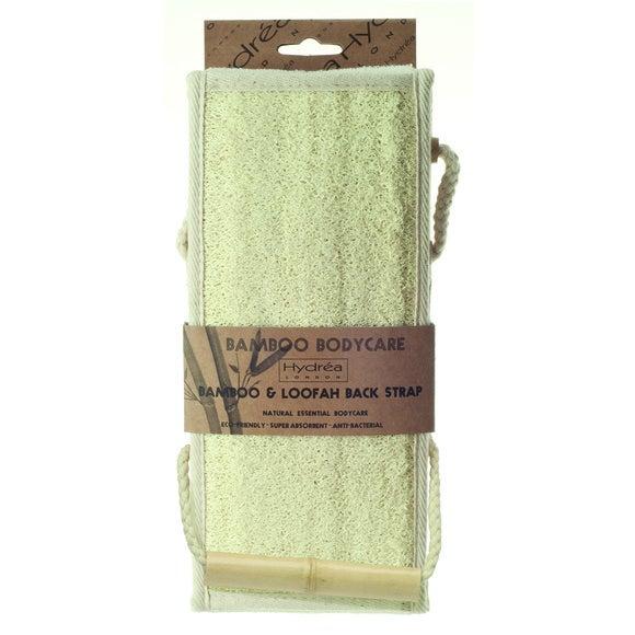 Sangle de massage pour le dos en bambou et loofah
