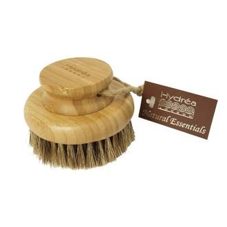 Brosse de massage pour le corp-ronde en cactus et base en bambou
