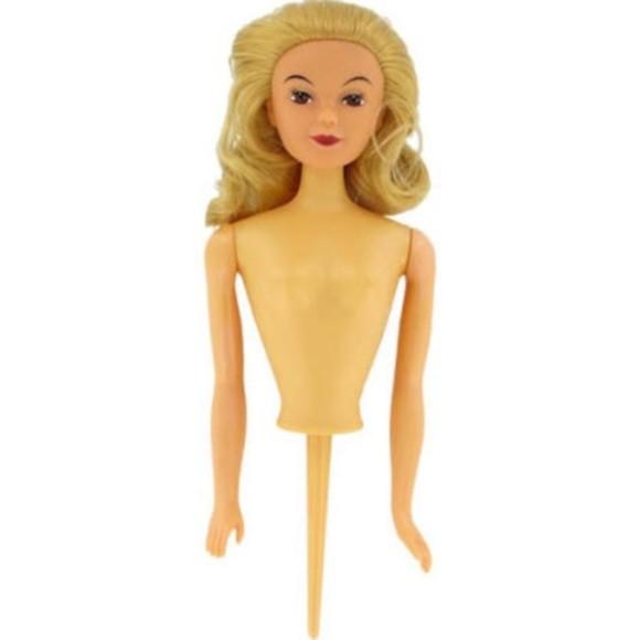 Busto bambola bionda per decoro torta, 4x9x25,5 cm