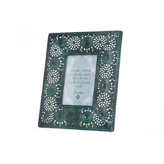 Cadre photo à poser 13x18 macramé métal vert