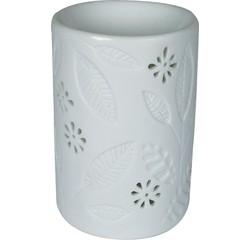 compra en línea Quemador de incienso redondo blanco estampado con tallos y hojas
