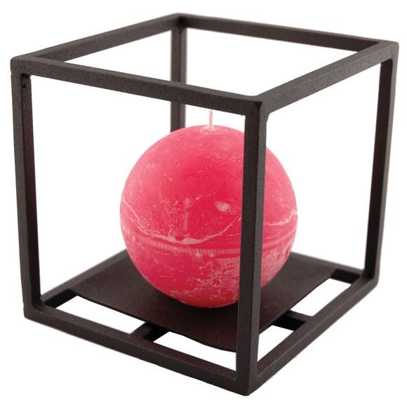 Bougeoir cube en métal noir