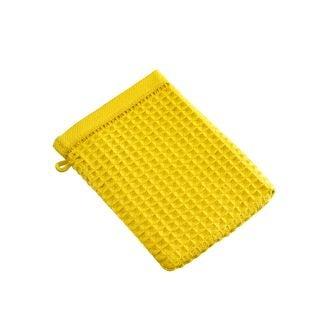 Gant de toilette nid d'abeille en coton moutarde