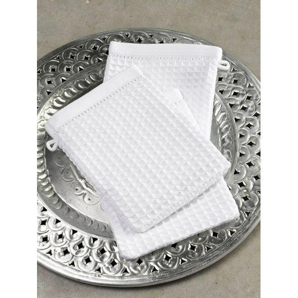 Gant de toilette en coton nid d'abeille craie