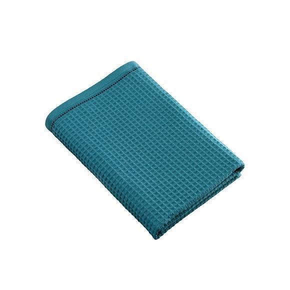 Asciugamano doccia a nido d'ape in cotone blu petrolio 70x140cm